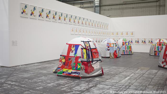 Lucy + Jorge Orta art installation 'Antarctic Village No borders': tents with different flags.