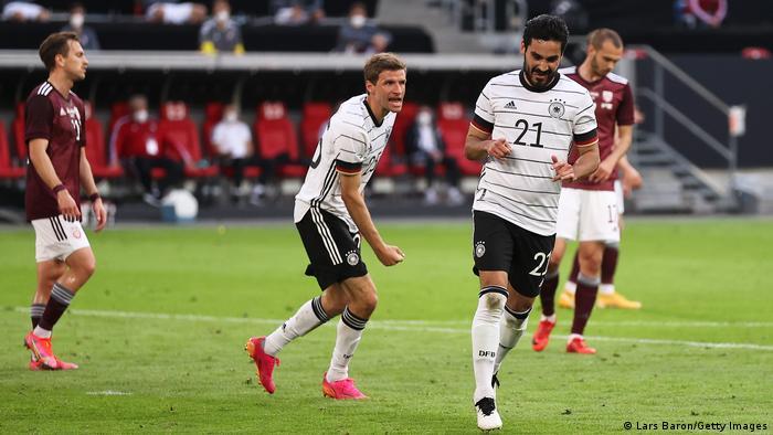 Gündogan celebrates his fine goal for Germany against Latvia