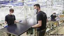 Modulfabrik in Freiberg bei Dresden, Mai 2021 Solarmodulproduktion und Solarzellproduktion in den neuen Solarfabriken von Meyer Burger in Freiberg bei Dresden und Bitterfeld-Wolfen bei Leipzig, Quelle: Meyer Burger/Aufnahmen der Fotos Mai 2021
