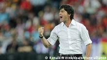 Head Coach Joachim Loew gestures during the UEFA EURO 2008 final match between Germany and Spain at the Ernst Happel stadium in Vienna, Austria, 29 June 2008. Photo: Ronald Wittek dpa +please note UEFA restrictions particulary in regard to slide shows and 'No Mobile Services'+ +++ dpa-Bildfunk +++