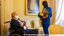 Pressedienst von Swetlana Tikhanovskaja stammt. Darauf ist: die weißrussische Oppositionspolitikerin Swetlana Tikhanovskaja während ihres Besuchs beim Präsidenten Tschechiens Milos Zeman am