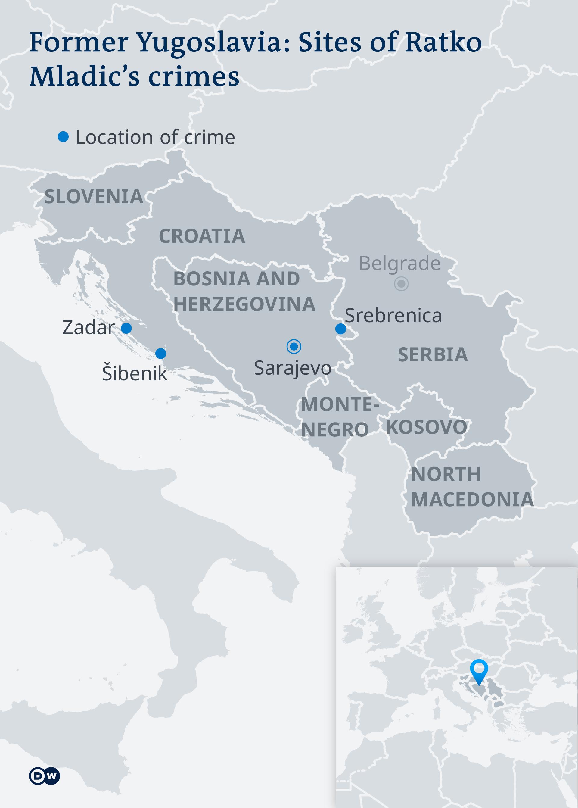 Map indicating locations of Mladic war crimes
