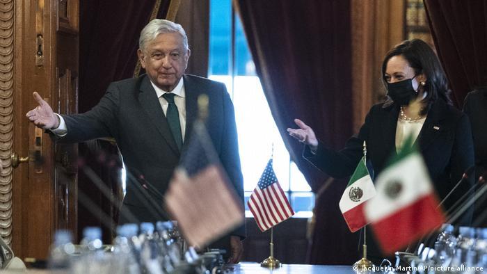 Kamala Harris trifft Mexikos Präsidenten Andres Manuel Lopez Obrador