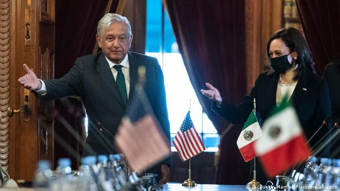 Kamala Harris, vicepresidenta de Estados Unidos, se reunió el 8 de junio de 2021 con Andrés Manuel López Obrador, presidente de México.
