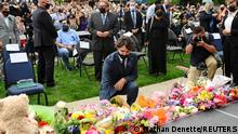 Canadian Prime Minister Justin Trudeau lays flowers at a vigil outside the London Muslim Mosque organized after four members of a Canadian Muslim family were killed in what police describe as a hate-motivated attack in London, Ontario, Canada, June 8, 2021. Nathan Denette/Pool via REUTERS