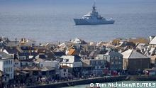 Royal Navy vessel sails near Carbis Bay ahead of the G7 summit, Cornwall, Britain, June 8, 2021. REUTERS/Tom Nicholson
