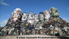 G7 Summit. EDITORIAL USE ONLY Mount Recyclemore: The E7, which has been created out of e-waste, in the likeness of the G7 leaders and in the style of Mount Rushmore by British artist Joe Rush for tech recommerce expert musicMagpie, is unveiled on Sandy Acres Beach in Cornwall ahead of the G7 Summit starting later this week. Picture date: Tuesday June 8, 2021. The re-commerce expert is backing WasteAid's educational programme to tackle e-waste by donating money for each piece of tech sold to the site throughout June. Research has revealed that the G7 nations alone produce almost 16 million tonnes of e-waste a year, with the US (6.9m), Japan (2.6m), Germany (1.6m) and UK (1.6m) being the worst o???enders. According to the UN, the current 53 million tonnes of e-waste generated annually worldwide will more than double by 2050, making it the fastest growing waste stream in the world. Photo credit should read: Adam Gasson/PA Wire URN:60256784