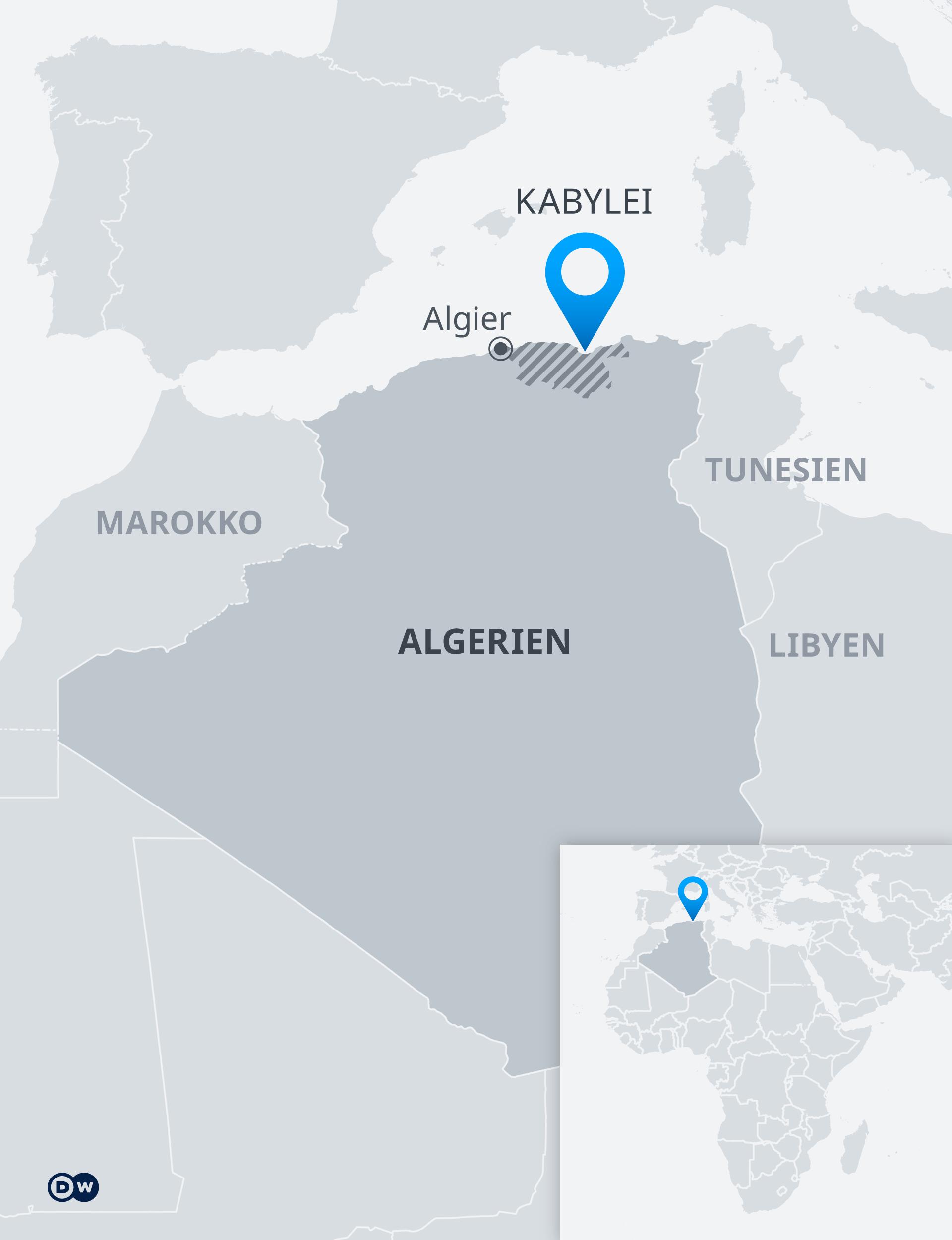 Infografik Karte Algerien Region Kabylla DE