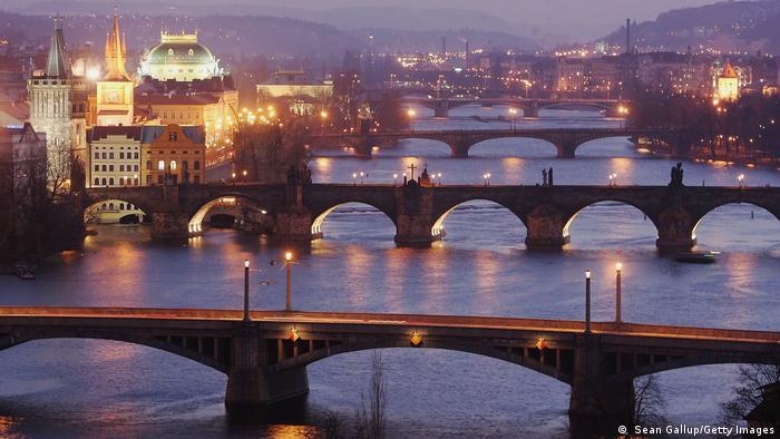 Prague with bridges over the Vltava river