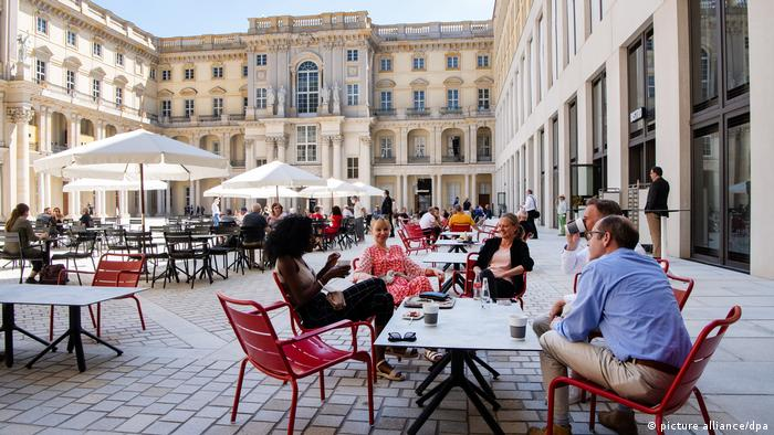 Outdoor cafes in the courtyard of the Berlin Palace.