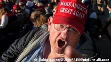 December 5, 2020, Valdosta, GA, USA: Thousands of Trump supporters converged on small town for Georgia Victory Rally to show support for President Donald Trump and two Republican incumbent U.S. senators Kelly Loeffler and David Perdue, who face democratic challengers in special run run-off election January 5, 2021. The election could decide control of the U.S. Senate..Pictured: A Trump supporter from central Georgia displays his disdain for news media, call it all Ôfake news. (Credit Image: © Robin Rayne/ZUMA Wire