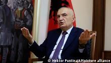 FILE - In this Wednesday, April 21, 2021 file photo, Albanian President Ilir Meta speaks during an interview with the Associated Press in Tirana, Albania. Albania's president has accused the U.S. ambassador of intervening in the small European country's internal affairs by supporting its prime minister in an upcoming parliamentary election. Meta spoke harshly about Ambassador Yuri Kim during a television talk show on Friday, April 23, 2021. While the show was airing, Kim sent a text message to Meta and also tweeted about Sunday's election. (AP Photo/Hektor Pustina, File)