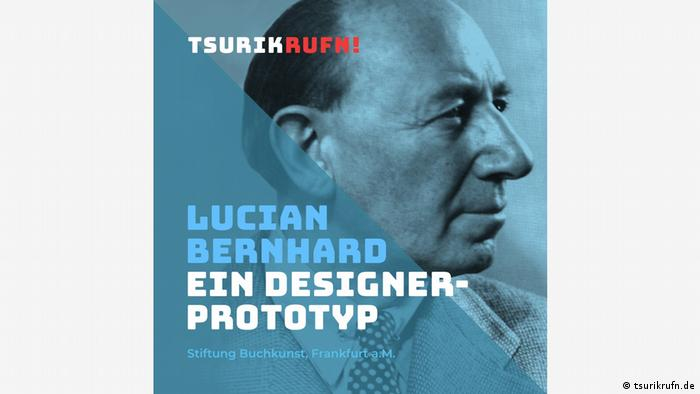 Lucian Bernhard, photo of a man's face from the side, writing says Design Prototype