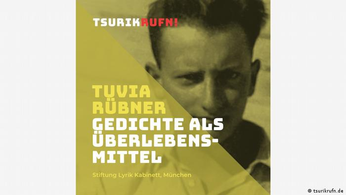 Tuvia Rüber, young man in bright light, writing says Poetry as a Tool of Survival.