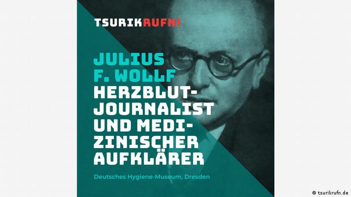 Julius F. Wollf, photo of a man wearing glasses, writing says: journalist with all his heart.
