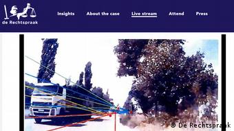 Следствие верифицировало снимки движения тягача, доставившего Бук к месту предполагаемого пуска ракеты. Снимок трансляции судебного заседания по делу о сбитом Боинге