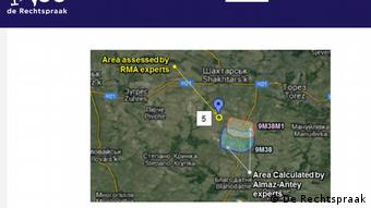 Район предполагаемого пуска ракеты Бук, сбившей Боинг, по оценкам трех различных экспертиз
