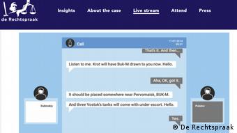 Текстовая расшифровка (на английском языке) переговоров Пулатова и Дубинского, в которой последний указывает разместить Бук-М недалеко от Первомайского. Снимок из трансляции судебного заседания 9 июня 2021 года