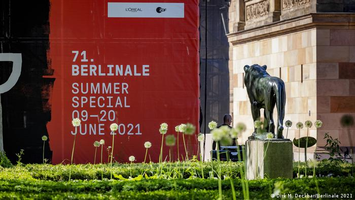 A red sign with the dates of 71st Berlinale Summer Special, 09-20 June 2021.