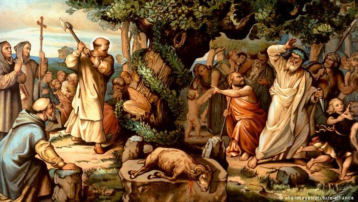 Святой Бонифаций на фреске 1834/44 годов в Мюнхене