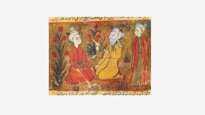 Iran Amir Chosrau, von Schülern umgeben. Persische Miniaturmalerei des späten 16. Jahrhunderts