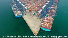 ©/MAXPPP - SHENZHEN, CHINA - AUGUST 21: Aerial view of containers sitting stacked at the Yantian International Container Terminals on August 21, 2020 in Shenzhen, Guangdong Province of China. (Photo by Chen Wen/China News Service)