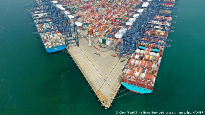 Aerial view of containers sitting stacked at the Yantian International Container Terminals