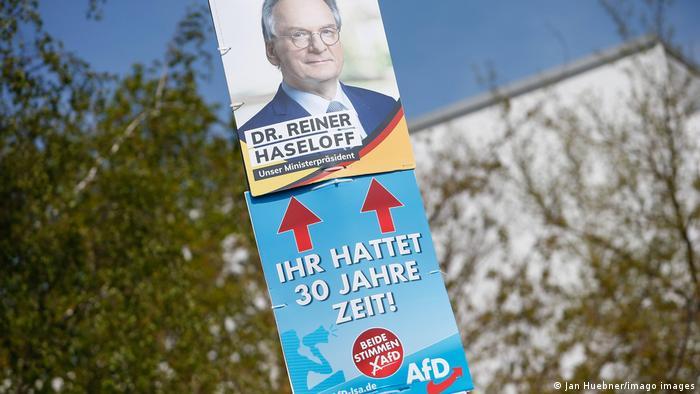 Germania alegeri în Saxonia-Anhalt afișe electorale AfD și CDU