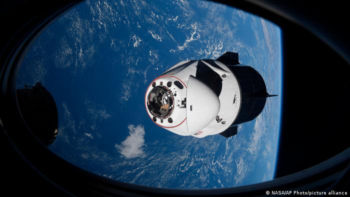 The SpaceX Crew Dragon capsule approaches the International Space Station for docking in April 2021