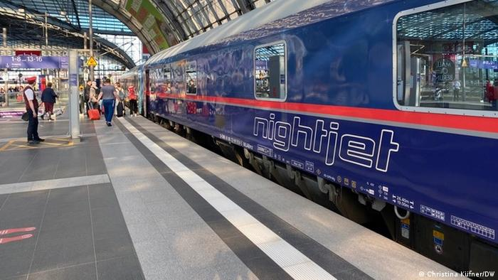 One of Austria's ÖBB night trains at a station