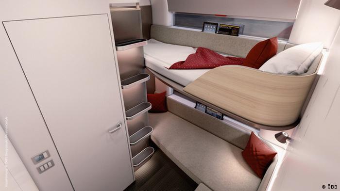 Model of a sleeping compartment for Austrian Railways' Nightjet