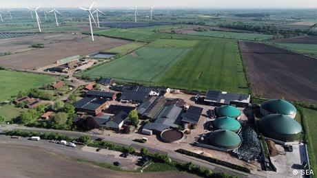 An aerial view of the wind and solar farms in the northern town of Sprakebüll