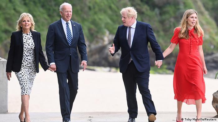 Premier Johnson and U.S. Präsident Biden beim G7-Treffen in Cornwall