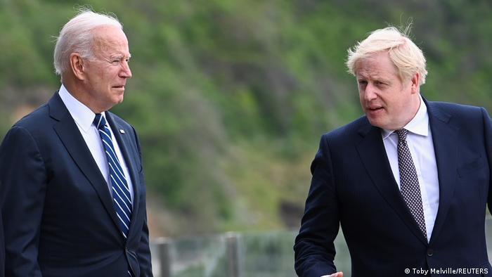 Presidente americano Joe Biden e premiê britânico Boris Johnson