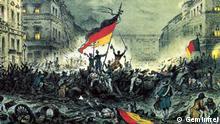 Pintura mostra cores da bandeira em barricadas em Berlim durante Revolução de 1848