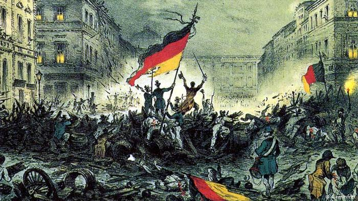 Painting of the Revolution in 1848 in Berlin