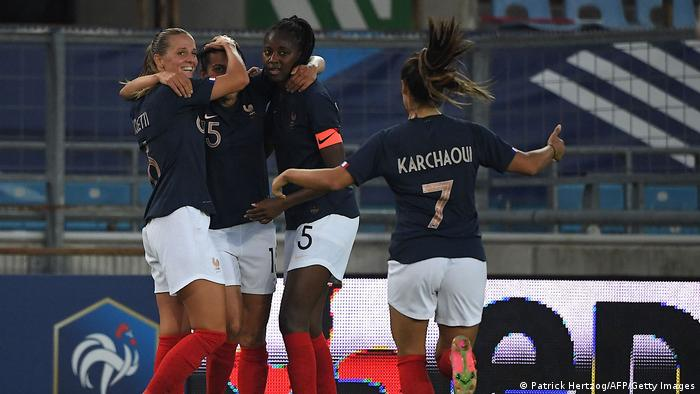 French players celebrate their winner