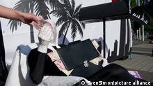 allgemein, Feature, Randmotiv, Protest der Attac-Bewegung gegen Geschaefte der Deutschen Bank in Steueroasen, Gewinnverschiebung, Briefkastenfirma, Steuerhinterziehung, Demonstration vor der Frankfurter Festhalle, Hauptversammlung der Deutschen Bank AG in Frankfurt, 18.05.2017. Â