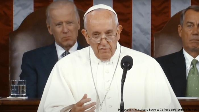 USA Papst Franziskus spricht vor einer gemeinsamen Sitzung des Kongresses (2015)