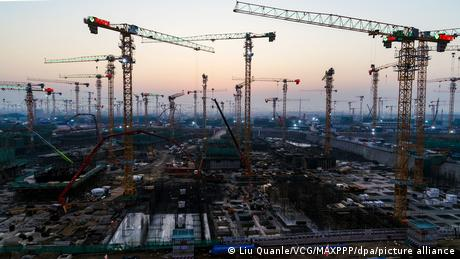 Cranes stand at construction sites at the Xiong'an New Area
