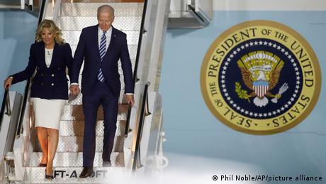 Ankunft Joe Biden und Jill Biden am Cornwall Airport Newquay