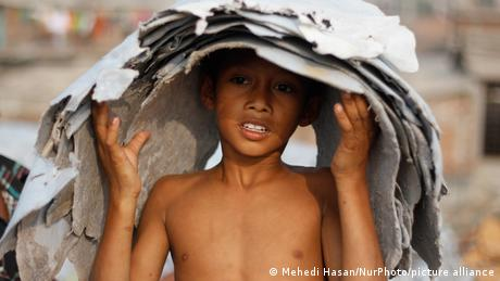 A child labor working at a tannery factory in Hazaribagh at Dhaka