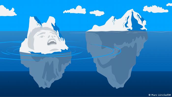 Иллюстрация: страдающее лицо на тающем айсберге