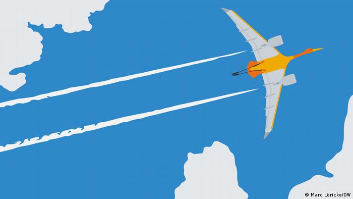 Illustration eines Vogels mit Flügeln eines Flugzeugs und einem Kondensstreifen dahinter fliegt am Himmel