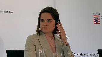 Светлана Тихановская на пресс-конференции в Берлине