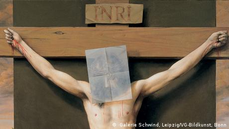 Jesus, the Messiah, nailed to the cross - detail from a painting by Michael Triegel (2001).