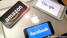 Photo by: STRF/STAR MAX/IPx 2021 6/11/21 Lawmakers unveil major bipartisan antitrust reforms that could reshape Amazon, Apple, Facebook and Google. STAR MAX Photo:: Google, Facebook, Amazon and Apple logos are photographed on multiple Apple devices.