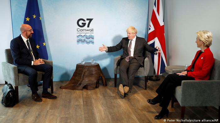 Шарль Мишель, Борис Джонсон и Урсула фон дер Ляйен на саммите G7