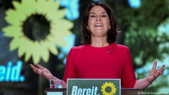 Green Party co-chairwoman Annalena Baerbock delivers a speech after being nominated as the party's chancellor candidate during a party convention in Berlin