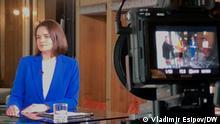 Talk show mit Swetlana Tichanowskaja (im blau) in Berlin